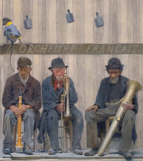Grimaces et misères: les Saltimbanques  *oil on canvas *114.6 x 292.7 cm *1888 *signed b.r.: F Pelez